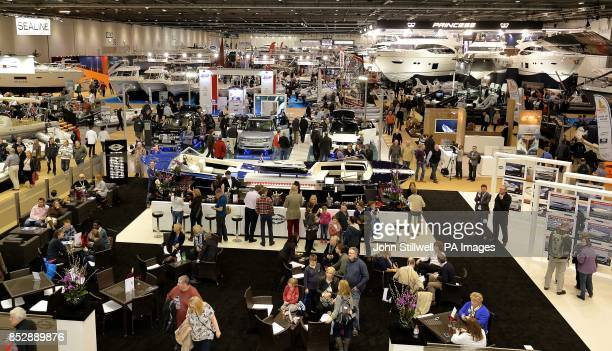 People attend the first day of the London Boat show 2014 at the ExcCel centre Docklands in east London