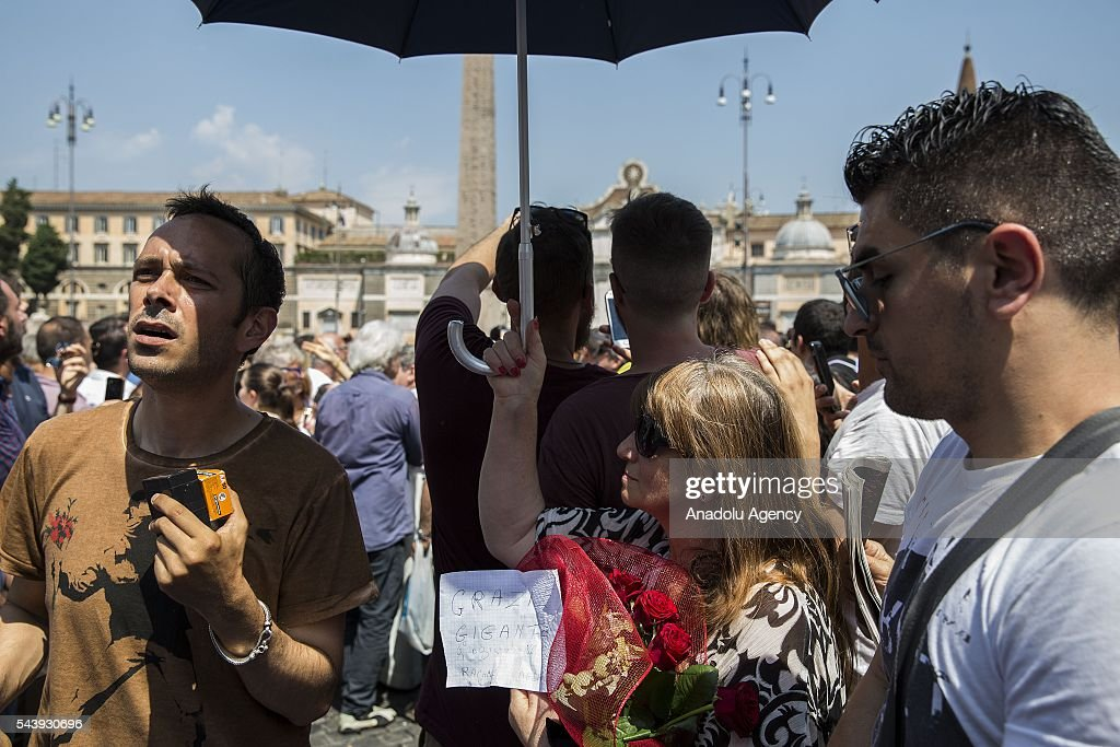 People attend the funeral ceremony of Italian actor Carlo Pedersoli also known as Bud Spencer outside the Santa Maria in Montesanto at Piazza del Popolo in Rome, Italy, 30 June 2016.