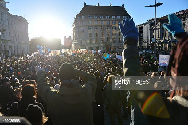 People attend the Global Climate March in Oslo Norway on November 28 2015 ahead of the 2015 Paris Climate Conference AFP PHOTO / NTB scanpix /...