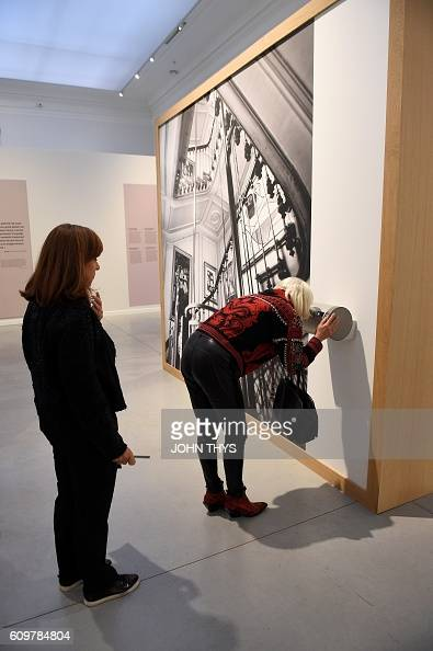 People attend the inauguration of the exhibition '21 Rue de la Boetie' on Paul Rosenberg at the Musee de la Boverie on September 21 2016 in Liege...