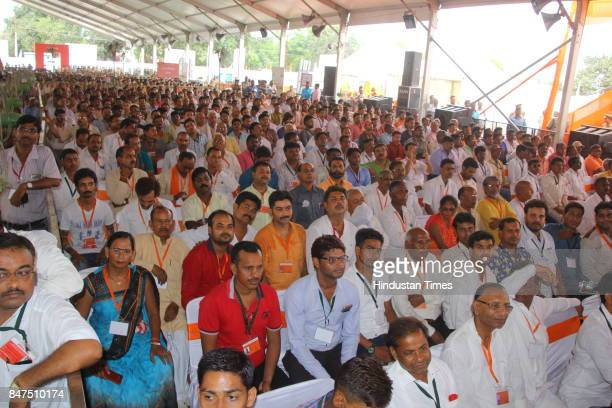 People attend the launch of Swachhta Hi Seva campaign at Iswari Ganj Village on September 15 2017 in Kanpur India President Ram Nath Kovind today...