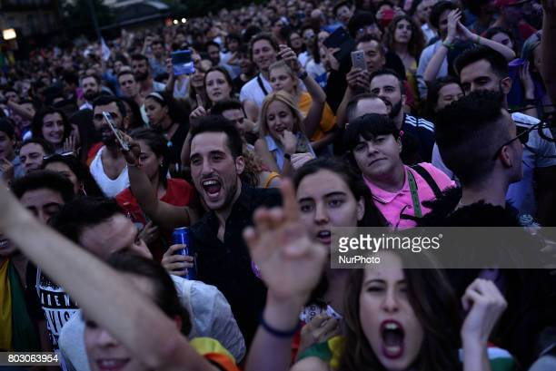 People attend the launch of the Gay Pride in Madrid on 28th 2017 From the Plaza de Pedro Zerolo is the kickoff party to the Pride parties called...