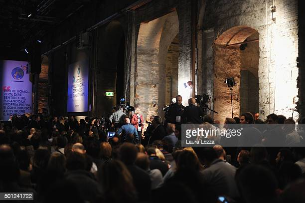 People attend the meeting of the Leopolda 2015 on December 13 2015 in Florence Italy The Leopolda an annual public meeting to discuss Italian...
