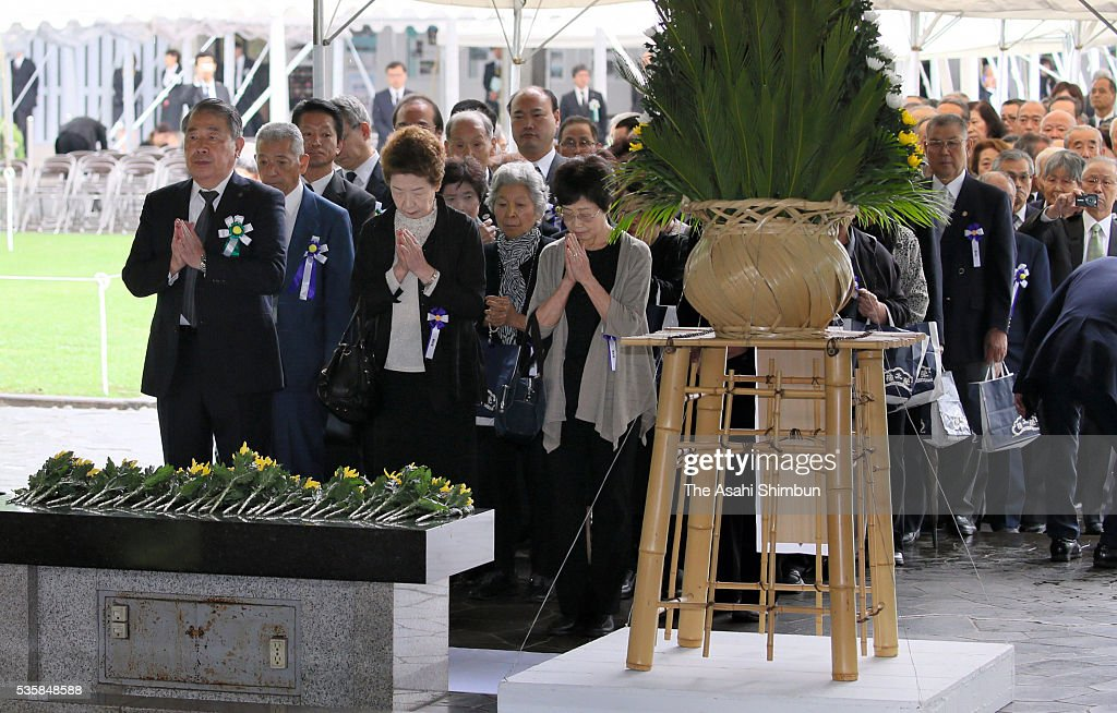 People attend the memorial ceremony at the Chidorigafuchi National Cemetery on May 30, 2016 in Tokyo, Japan. Ashes of 2,337 War dead in WWII, which recovered from Russia and South Pacific Islands are placed.