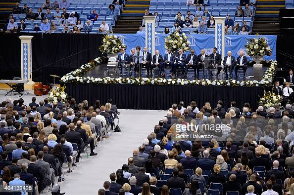 People attend the memorial service for former North Carolina Tar Heels basketball coach Dean Smith at the Dean Smith Center on February 22 2015 in...