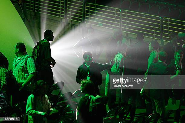 People attend the Microsoft Xbox 360 media briefing on the eve of the Electronic Entertainment Expo on June 6 2011 in Los Angeles California More...