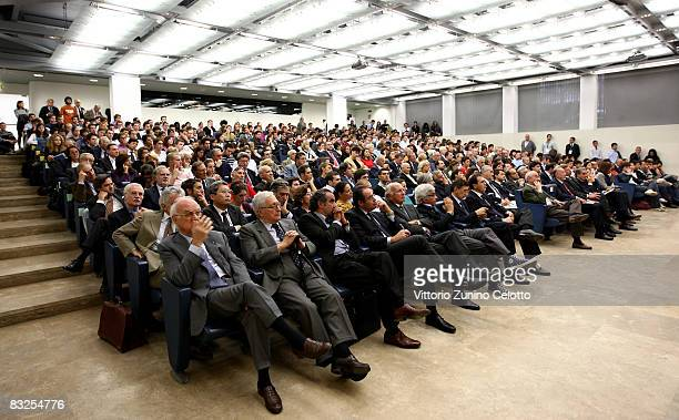 People attend the 'Ministers of Foreign Affairs Recount' seminar held at the Bocconi University on October 13 2008 in Milan Italy The seminar is a...
