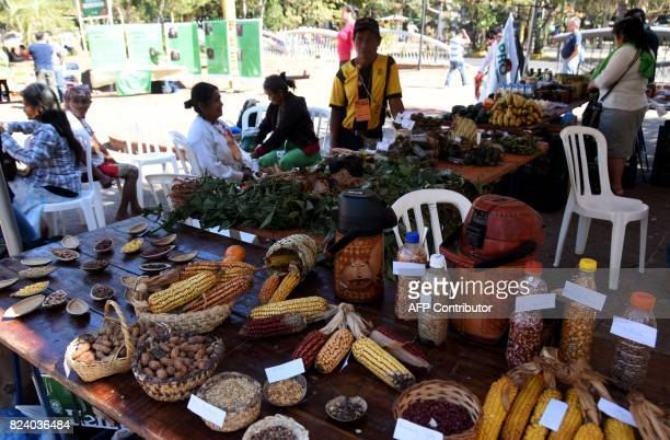 People attend the Native Seeds Fair at a square in downtown Asuncion on July 28 2017 Farmers at the fair exchange their products mostly seeds that...