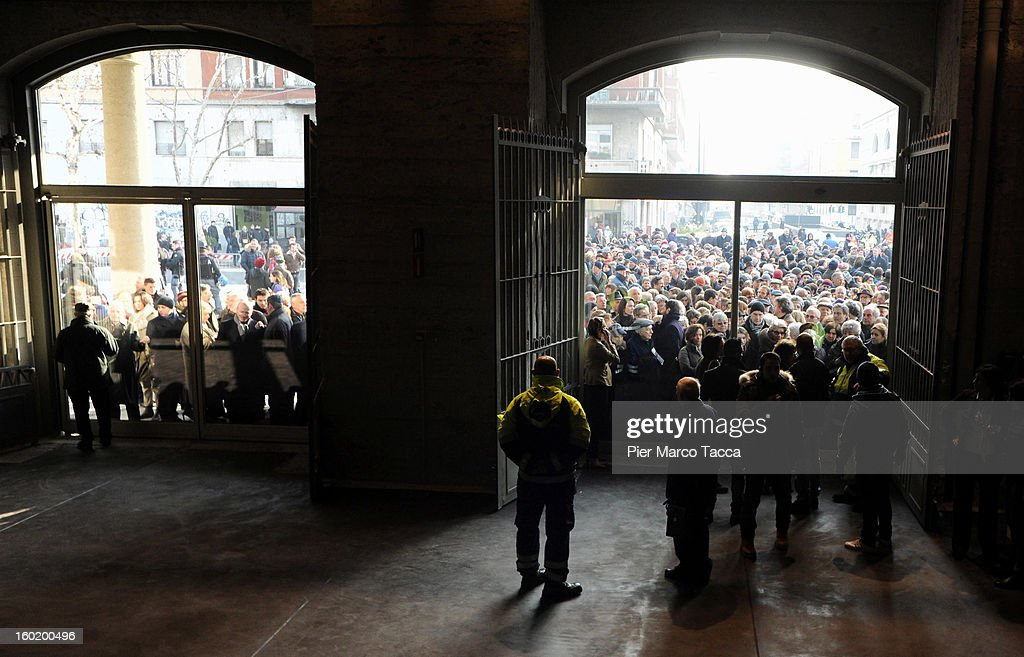 People attend the opening of 'Memoriale della Shoa' at Platform 21 (Binario 21), which was used to transport Jews to concentration camps during World War II, on International Holocaust Remembrance Day on January 27, 2013 in Milan, Italy. 'Memoriale della Shoa' is located at Platform 21 (Binario 21), which formed part of a secret underground rail network that transported hundreds of Jews to camps such as Auschwitz and Dachau, from1943 to 1945.