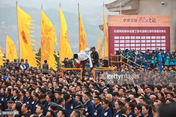YAN'AN CHINA APRIL 04 People attend the public memorial ceremony for the Yellow Emperor on April 4 2017 in Yan'an Shaanxi Province of China A public...