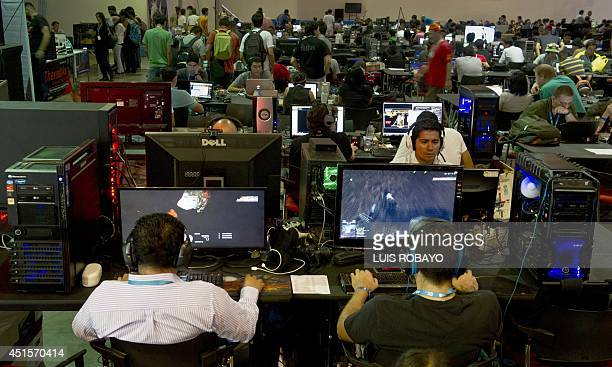 People attend the seventh edition of Colombia's Campus Party on July 1 in Cali department of Valle del Cauca Colombia The Campus Party is considered...