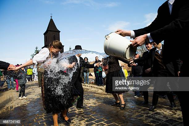 People attend the traditional Easter celebrations in Holloko east of Budapest April 06 2015 People dressed in traditional costumes from the World...