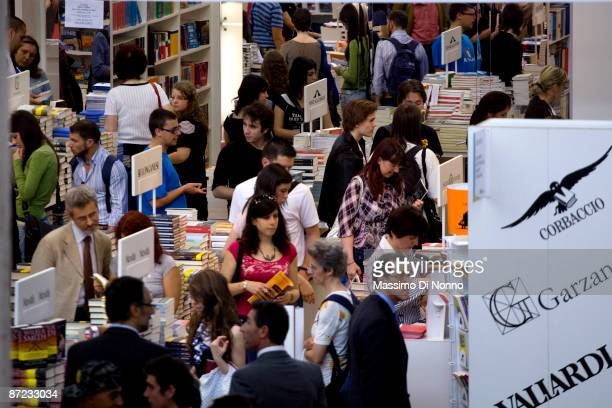 People attend the Turin 2009 International Book Fair on May 14 2009 in Turin Italy