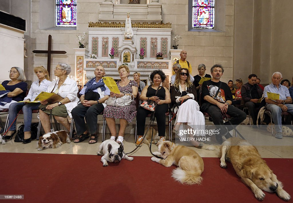 People attend with their pets a mass dedicated to animals at the Saint-Pierre-d'Arene's church on October 7, 2012 in Nice, southeastern France.