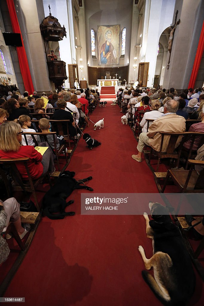 People attend with their pets a mass dedicated to animals at the Saint-Pierre-d'Arene's church on October 7, 2012, in Nice southeastern France.