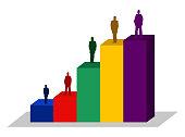 people bar chart financial business illustration