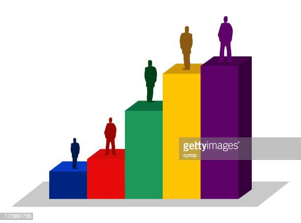 people bar chart financial business illustration