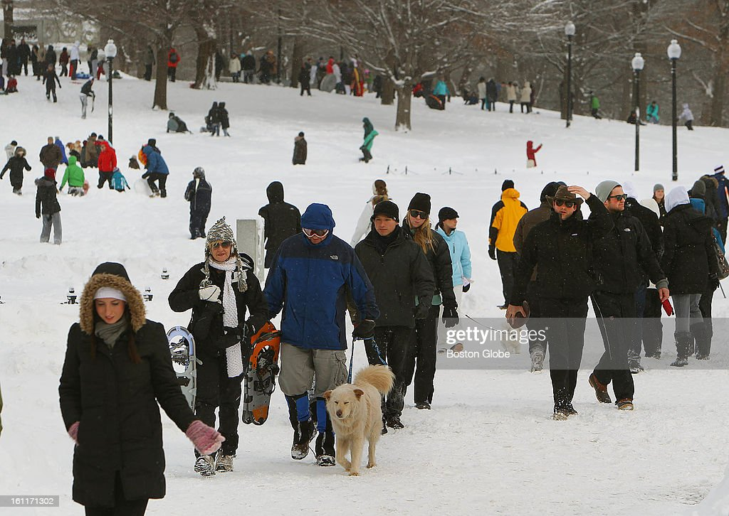 People begin to dig out from the big blizzard. They came out in droves on Boston Common.