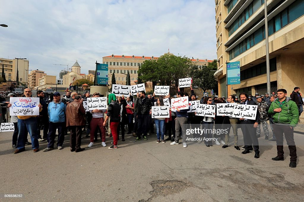 People block the road with their vehicles at Riad Al Solh Square where close to Governmental Palace during an anti-government demonstration, protesting government's decision on price raising for oil in Beirut, Lebanon on February 10, 2016.