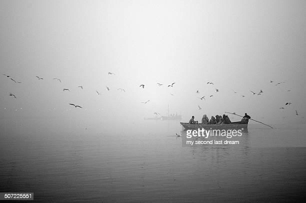 People boating in Ganga River