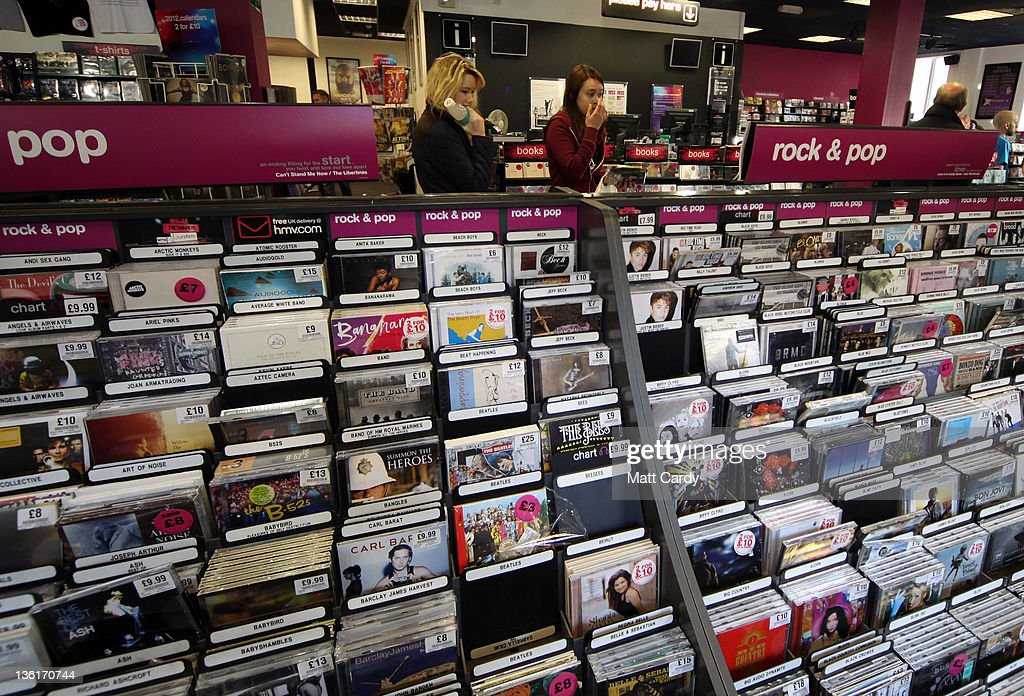 People browse for CDs in a branch of the music and entertainer retailer HMV in the centre of Bath on December 28 2011 in Bath England In spite of...