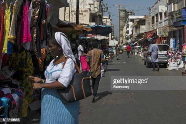 People browse goods at the Sandaga Market in the Plateau district of Dakar Senegal on Friday July 28 2017 Senegalese voters will elect a new...