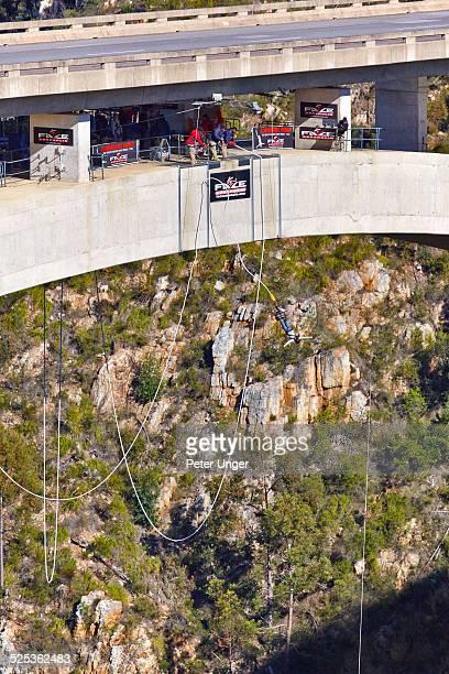People Bungy Jumping off Bloukrans Bridge