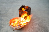 People burn joss paper gold and silver paper for worship with paper made to resemble money and burned as sacrificial offering for pray to god and memorial to ancestor in Chinese new year day at house