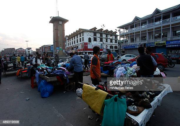 People busy in shopping from roadside vendors in city centre Lal Chowk during a strike in downtown area in Srinagar on September 20 2015 in Srinagar...