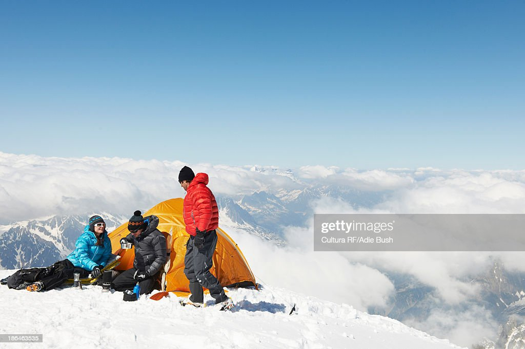People camping in mountains, Chamonix, France : Stock Photo