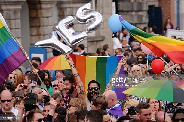 People celebrate a landslide victory of a Yes vote after a referendum on same sex marriage was won by popular ballot vote by a margin of around...