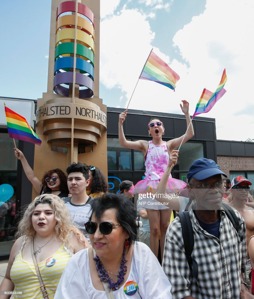 People celebrate the 48th annual Gay and Lesbian Pride Parade on June 25, 2017 in Chicago, Illinois.