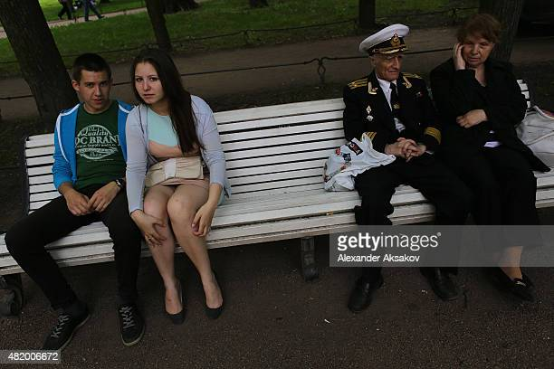 People celebrate the day or Russian Navy on July 26 2015 in St Petersburg Russia Introduced in 1939 by the Soviet government as a national holiday...