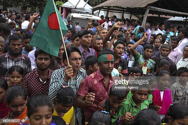 People celebrate the solved enclaves conflict at Dashiachora in Kurigram enclaves Bangladesh on July 31 2015 Bangladesh and India are going to...
