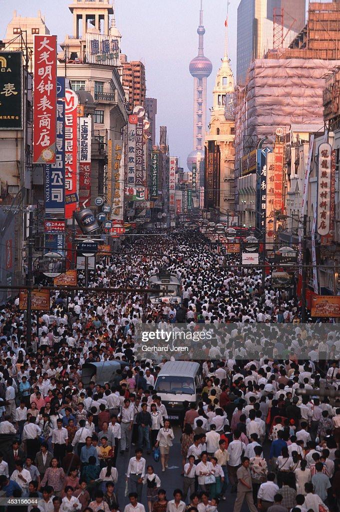 People celebrating National Day Shanghai China