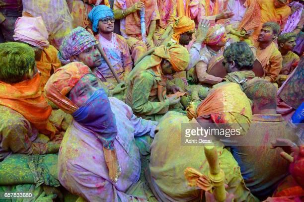 People celebrating the festival of Holi in Barsana.