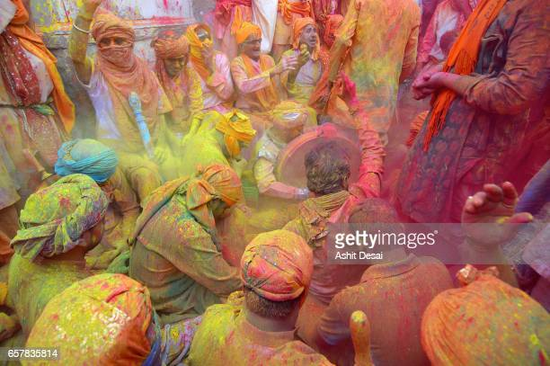 People celebrating the festival of Holi in Barsana.