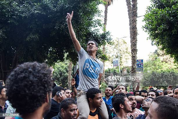 People chant slogans during a protest against the decision to hand over control of two strategic Red Sea islands namely Tiran and Sanafir to Saudi...