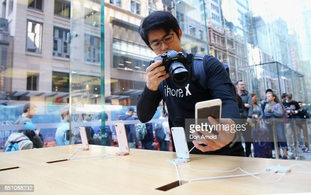 People check out product inside the store during the release of the iPhone 8 and 8 Plus at Apple Store on September 22 2017 in Sydney Australia...