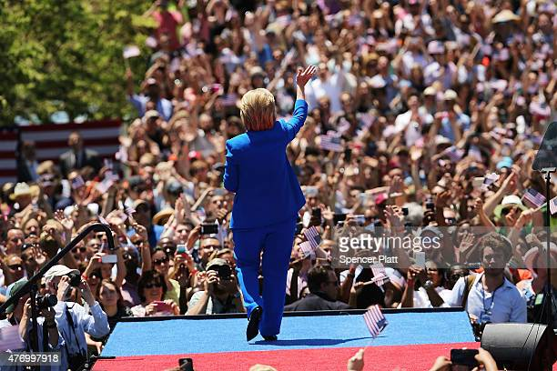 People cheer after Democratic Presidential candidate Hillary Clinton finished her official kickoff rally at the Four Freedoms Park on Roosevelt...
