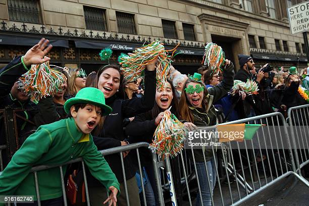 People cheer as the during the annual St Patrick's Day parade one of the largest and oldest in the world on March 17 2016 in New York City Now that a...
