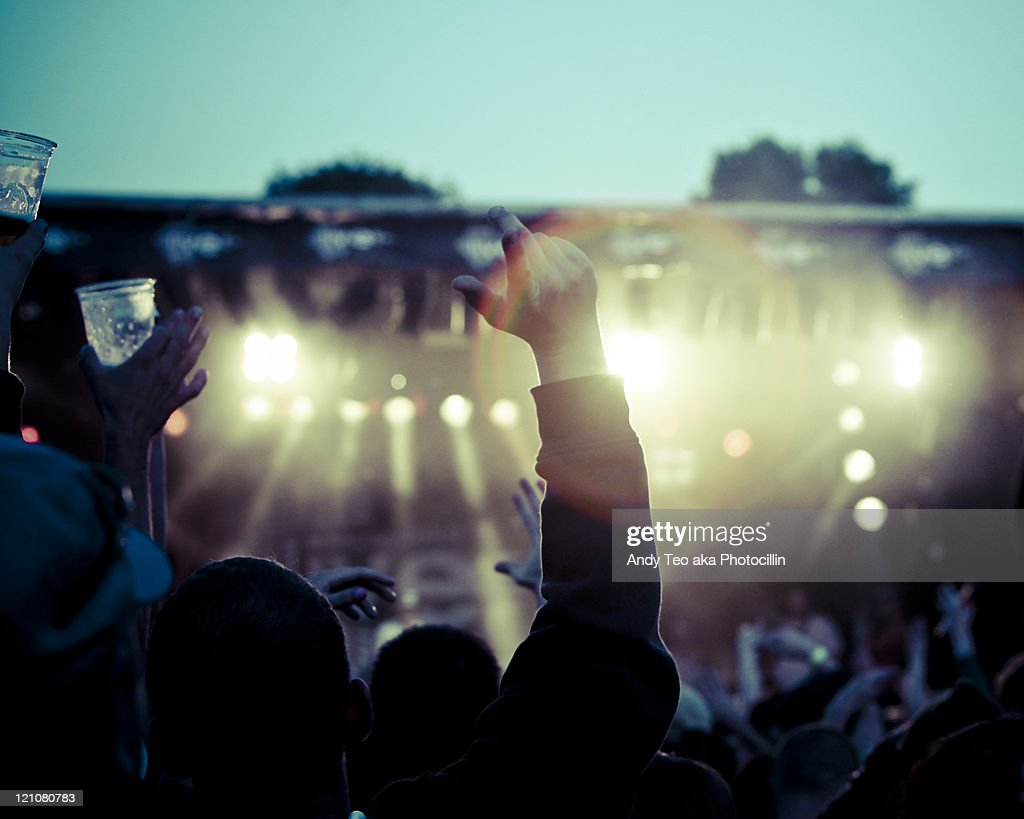 People cheering for concert : Stock Photo
