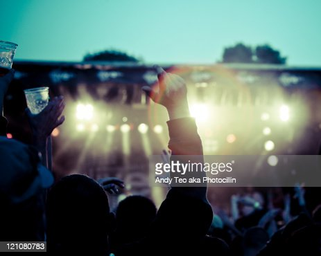 People cheering for concert