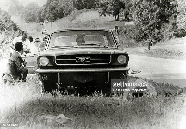6th June 1966 Hernando Mississippi American civil rights activist James Meredith lies injured by a shotgun blast as newsmen duck for cover James...