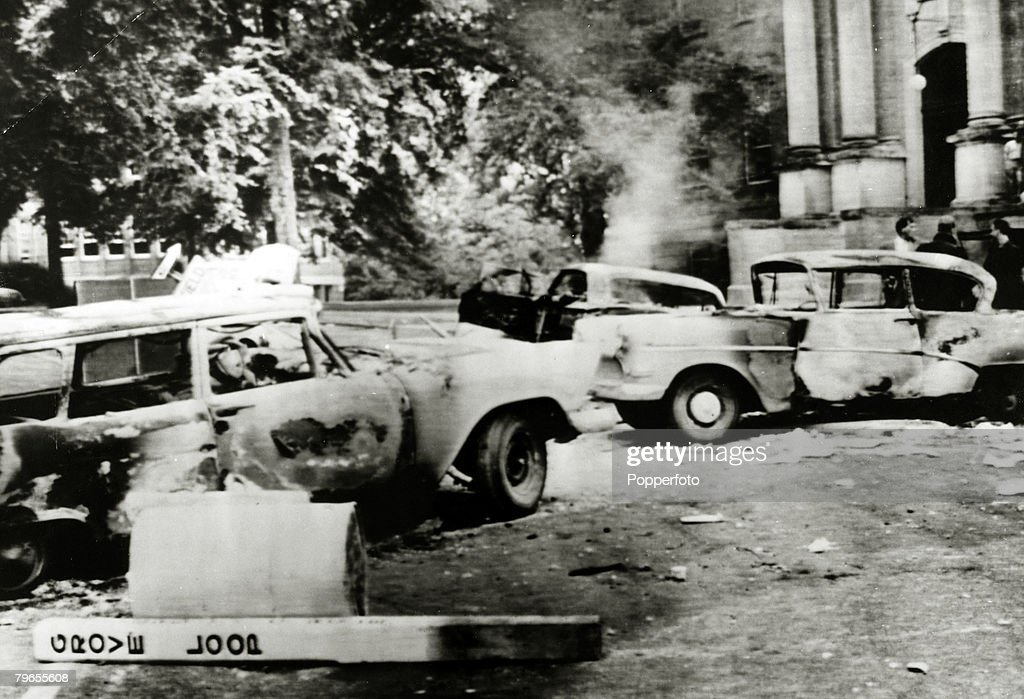 October 1962, Oxford, Mississippi, Burnt out cars after violence when rioters protested against the enrollment of James Meredith the first black student at the University of Mississippi