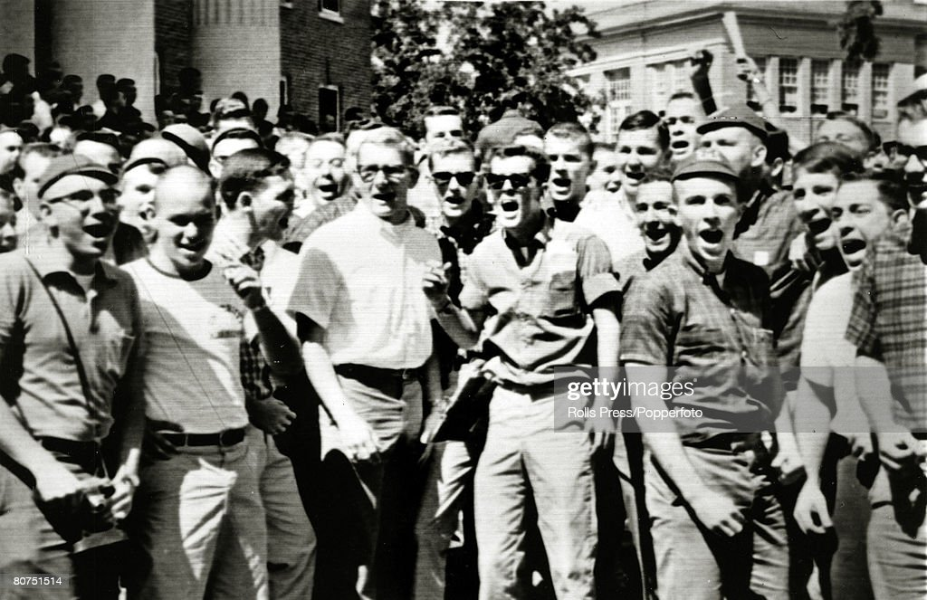 September 1962, Oxford, Mississippi, White students yell and scream insults as James Meredith was soon to arrive at the campus, James Meredith was the first black student at the University of Mississippi, his enrollment enforced by federal troops due to protests