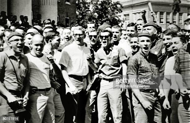 September 1962 Oxford Mississippi White students yell and scream insults as James Meredith was soon to arrive at the campus James Meredith was the...