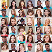 People collage. Different expressions, ethnicities, ages.