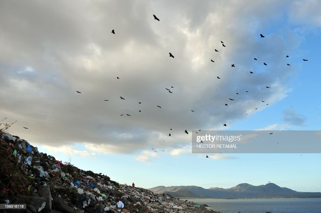 People collect plastics and metals to be sold for recycling, at Managua's landfill 'La Chureca', on January 10, 2013. AFP PHOTO/Hector RETAMAL