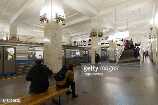 People come on at  Moskovskaya  metro station. : Stock Photo